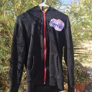 Black LA Clippers zip up hoodie size medium